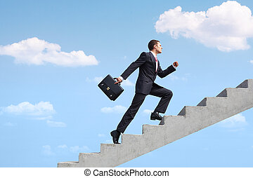Success - Image of confident businessman with briefcase...