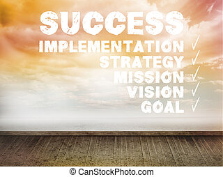 Success plan written on wall with sky