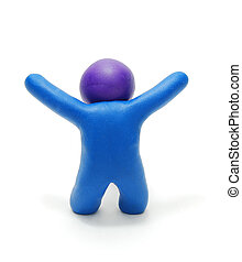 Success Plasticine Man 3D Figure - 3D Blue Plasticine Man...