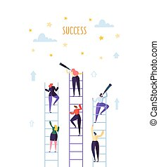 success., professionnels, échelle carrière, concurrence, accomplir, vecteur, illustration, escalade, concept., but