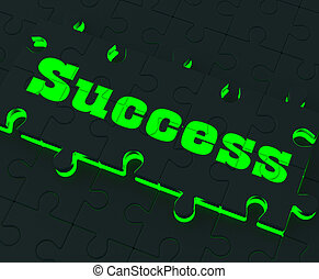 Success Puzzle Showing Successful Strategies