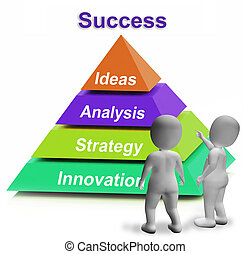 Success Pyramid Shows Accomplishment Progress Or Successful...