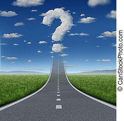 Success Questions and uncertain strategy with a road or...