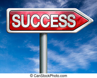 success red road sign arrow