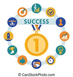 Success related vector icons set, flat style