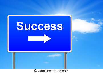 Success road sign with arrow on sky background.