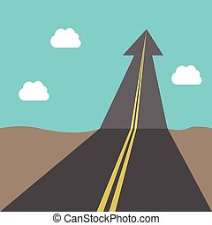 Success road with arrow