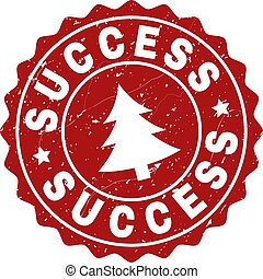 SUCCESS Scratched Stamp Seal with Fir-Tree