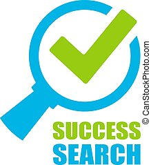 Success search vector logo isolated on white background