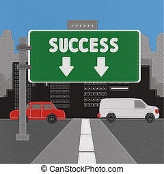 Success sign concept with stitch style on fabric background