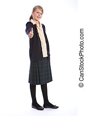 Success sign for teenage High school blonde girl