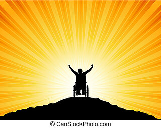 Silhouette of a man in a wheelchair with his arms raised in success
