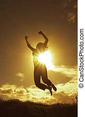 Success ! - Silhouette of a woman expressing her success