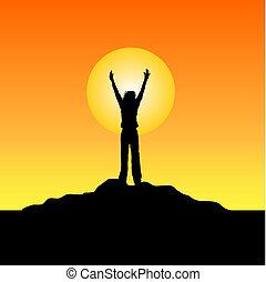 Success! - Silhouette of female raising her hands in success...