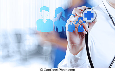 success smart medical doctor working with operating room as conc
