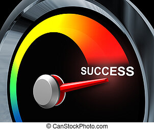 Success speedometer business concept of fast powerful achievement as a result of careful planning of a financial strategy represented by a speed gauge measuring the improvement your goals and aspirations.