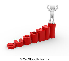 Success stair - 3d people - human character on success...