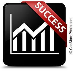 Success (statistics icon) black square button red ribbon in corner