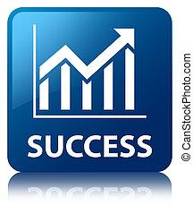 Success (statistics icon) blue square button