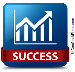 Success (statistics icon) blue square button red ribbon in middle