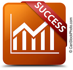 Success (statistics icon) brown square button red ribbon in corner