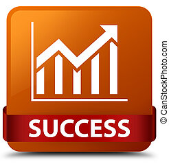 Success (statistics icon) brown square button red ribbon in middle
