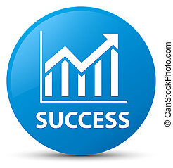 Success (statistics icon) cyan blue round button