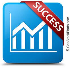 Success (statistics icon) cyan blue square button red ribbon in corner