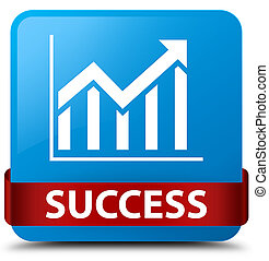 Success (statistics icon) cyan blue square button red ribbon in middle