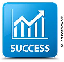 Success (statistics icon) cyan blue square button