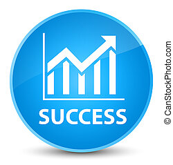 Success (statistics icon) elegant cyan blue round button