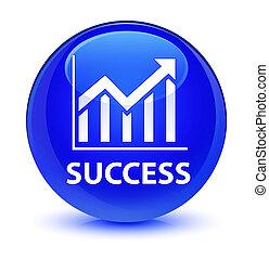 Success (statistics icon) glassy blue round button