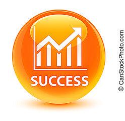Success (statistics icon) glassy orange round button