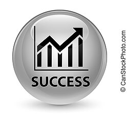 Success (statistics icon) glassy white round button