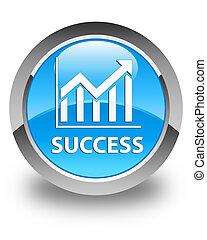 Success (statistics icon) glossy cyan blue round button