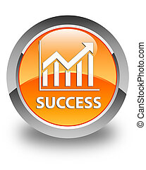 Success (statistics icon) glossy orange round button