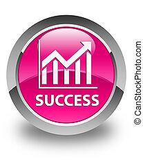 Success (statistics icon) glossy pink round button
