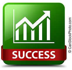 Success (statistics icon) green square button red ribbon in middle