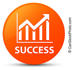Success (statistics icon) orange round button