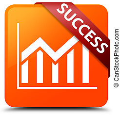 Success (statistics icon) orange square button red ribbon in corner