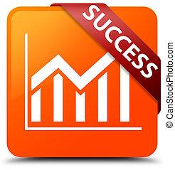 Success (statistics icon) orange square button red ribbon in corner
