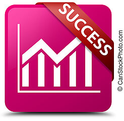 Success (statistics icon) pink square button red ribbon in corner