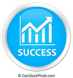 Success (statistics icon) premium cyan blue round button