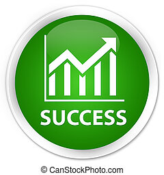 Success (statistics icon) premium green round button