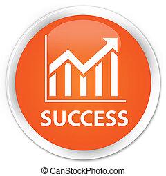 Success (statistics icon) premium orange round button