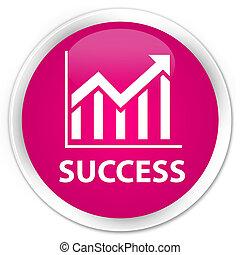 Success (statistics icon) premium pink round button