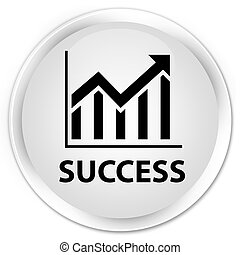 Success (statistics icon) premium white round button