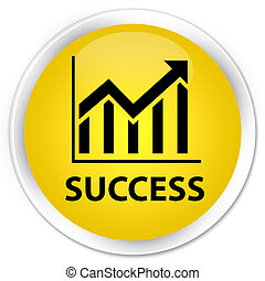 Success (statistics icon) premium yellow round button