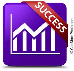 Success (statistics icon) purple square button red ribbon in corner
