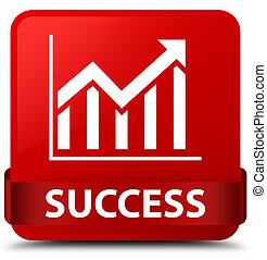 Success (statistics icon) red square button red ribbon in middle